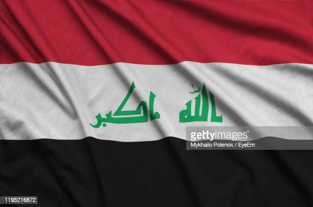 full frame shot of iraqi flag - iraq stock pictures, royalty-free photos & images