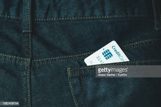 Full Frame Shot Of Jeans With Credit Card In Pocket