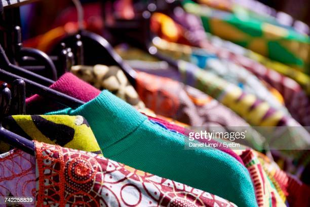 Full Frame Shot Of Kurtas Hanging On Rack In Market For Sale
