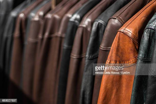 Full Frame Shot Of Leather Jackets For Sale In Clothing Store