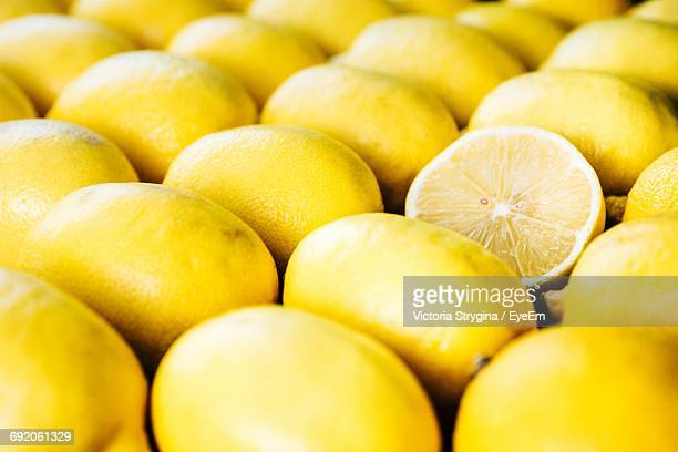 Full Frame Shot Of Lemons Arranged For Sale