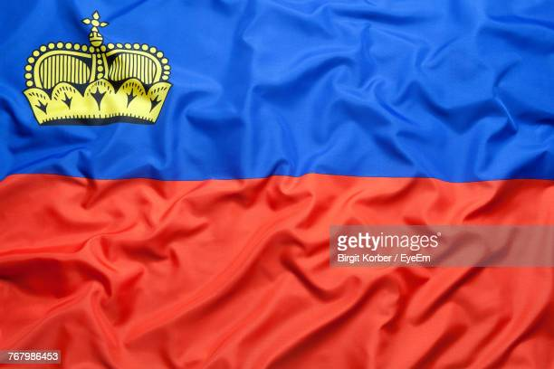 full frame shot of liechtenstein flag - principality of liechtenstein stock pictures, royalty-free photos & images