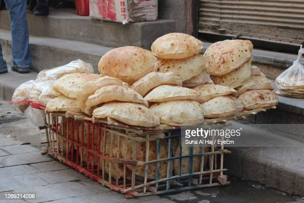 full frame shot of local bread for sale in market - egypt stock pictures, royalty-free photos & images