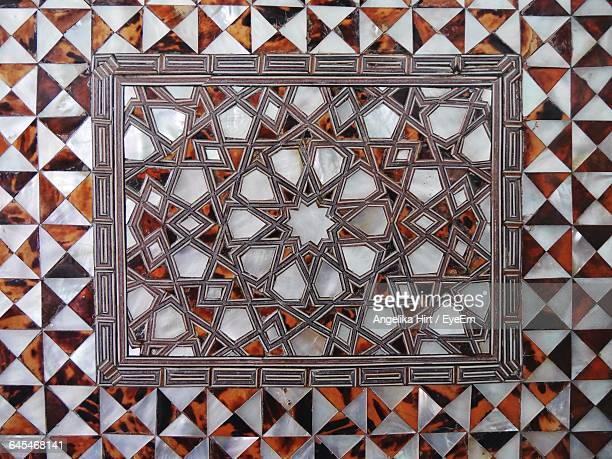 full frame shot of marquetry on wall - marquetry stock photos and pictures