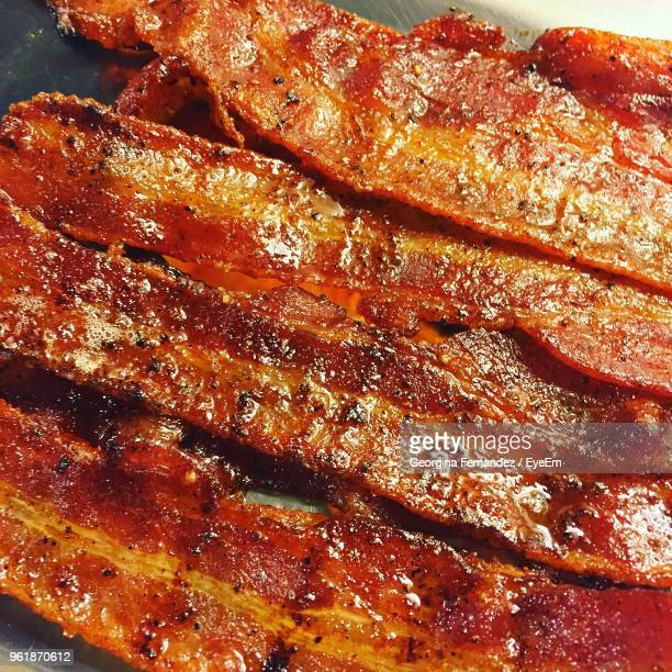 full frame shot of meat on barbecue grill - bacon stock pictures, royalty-free photos & images