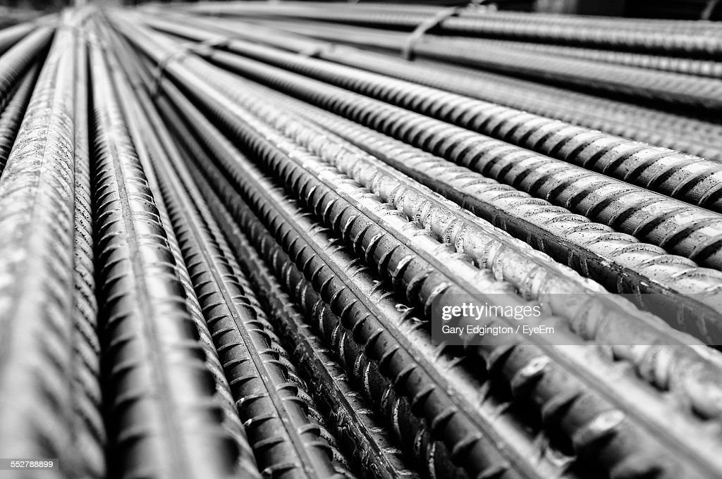 Full Frame Shot Of Metal Rods At Construction Site : Stock Photo