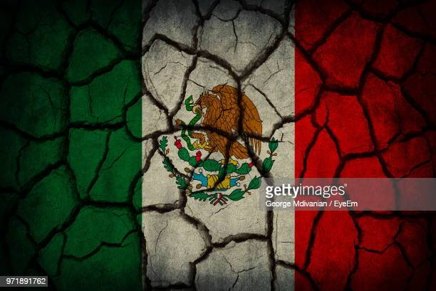 full frame shot of mexican flag on cracked land - bandera mexicana fotografías e imágenes de stock