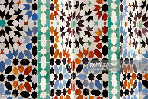 Full frame shot of Moroccan tiles at Ben Youssef Madrasa, Marrakesh, Morocco