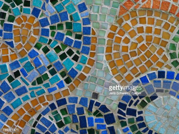 full frame shot of mosaic on wall - mosaic stock pictures, royalty-free photos & images