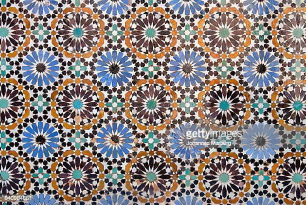 Full frame shot of mosaic tiles at Ben Youssef Madrasa, Marrakesh, Morocco