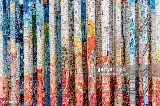 full frame shot of mosaic wall - mosaic stock pictures, royalty-free photos & images