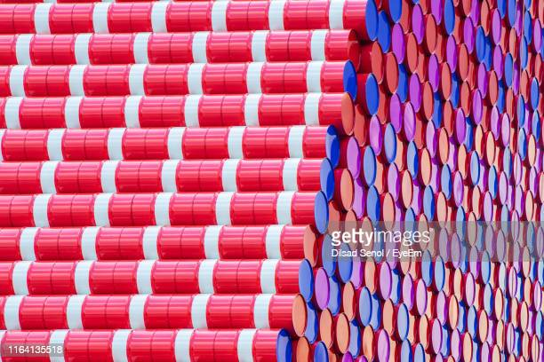 full frame shot of multi colored containers - oil barrel stock pictures, royalty-free photos & images