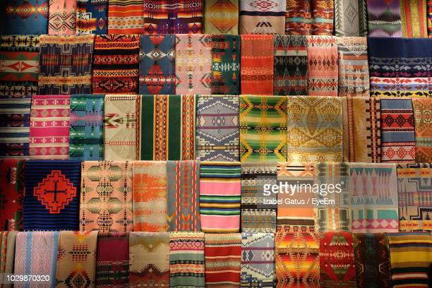 full frame shot of multi colored fabric for sale in market - 売り出し中 ストックフォトと画像