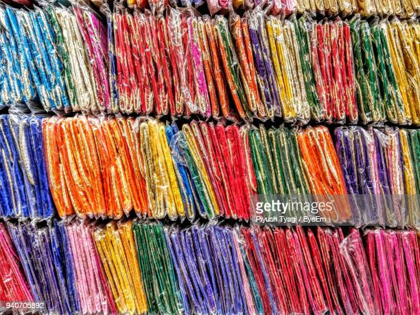 Full Frame Shot Of Multi Colored Fabric For Sale In Market
