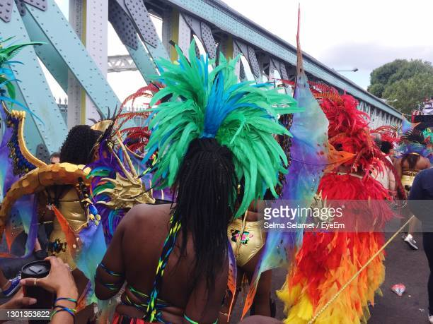 full frame shot of multi colored feathers in a carnival - notting hill stock pictures, royalty-free photos & images