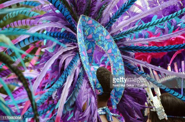 full frame shot of multi colored feathers in carnival costumes - chelsea mask stock pictures, royalty-free photos & images