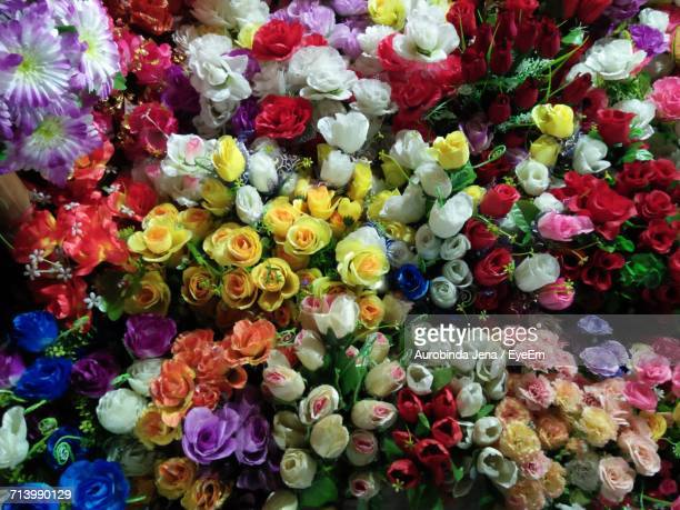 Full Frame Shot Of Multi Colored Flowers For Sale In Market