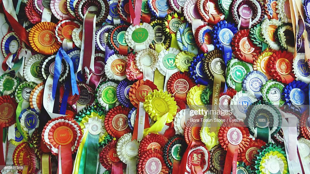 Full Frame Shot Of Multi Colored Medals : Stock Photo
