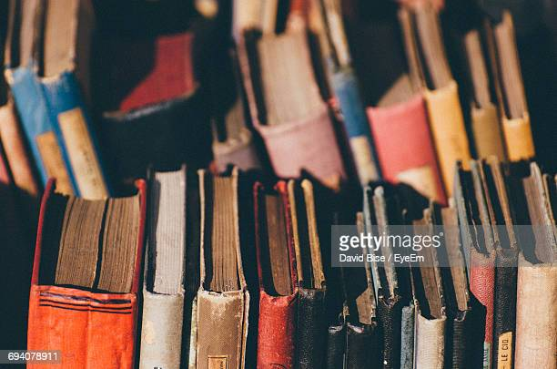Full Frame Shot Of Multi Colored Old Books For Sale