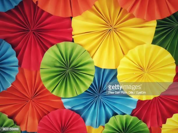 Full Frame Shot Of Multi Colored Parasols For Sale At Market
