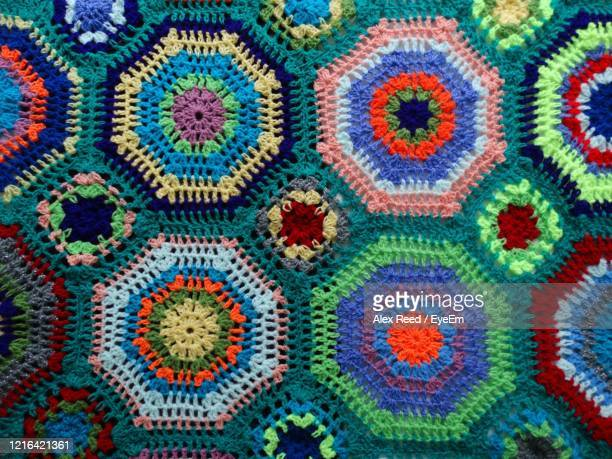 full frame shot of multi colored pattern - crochet stock pictures, royalty-free photos & images