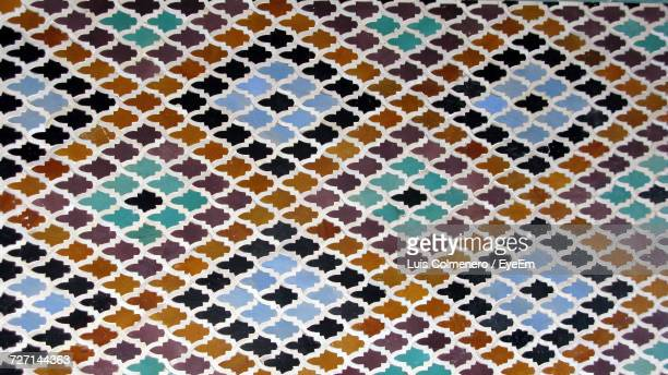 full frame shot of multi colored patterned tile - african pattern stock photos and pictures