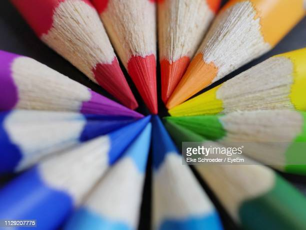 full frame shot of multi colored pencils - colors of rainbow in order stock pictures, royalty-free photos & images