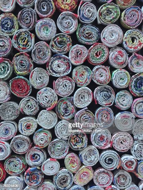 Full Frame Shot Of Multi Colored Rolled Up Fabric