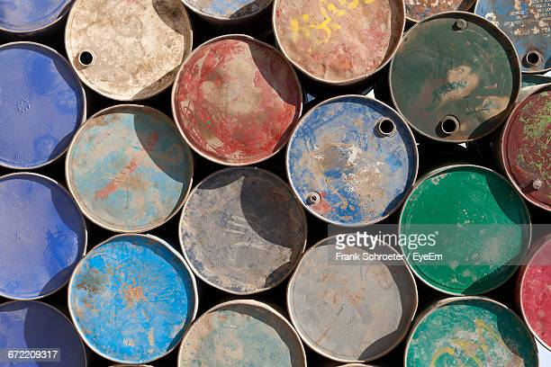 Full Frame Shot Of Multi Colored Rusty Barrels