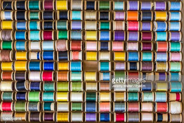 full frame shot of multi colored spools of thread - eyeem jeremy walter stock pictures, royalty-free photos & images