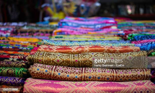 full frame shot of multi colored textile for sale - indonesian cloth 個照片及圖片檔