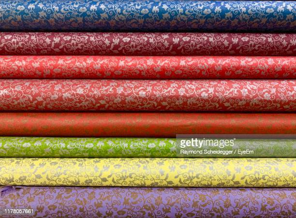 full frame shot of multi colored textiles - jeonju stock pictures, royalty-free photos & images