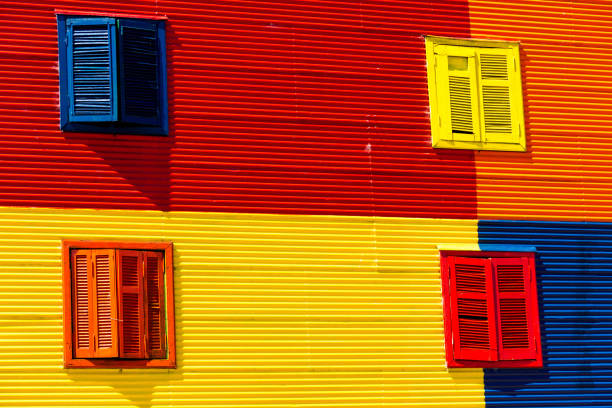 Full Frame Shot Of Multi Colored Windows On Wall