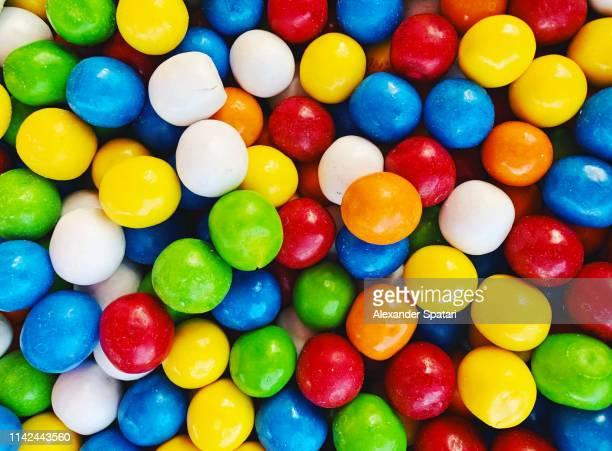 full frame shot of multicolored candies - gumball machine stock pictures, royalty-free photos & images