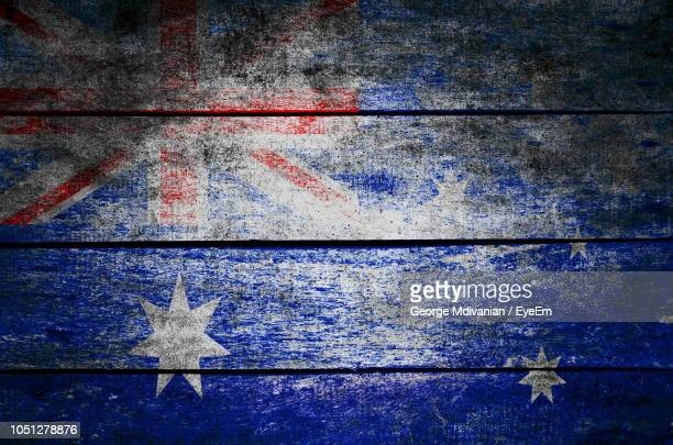 full frame shot of new zealand flag painted on wood - new zealand flag stock photos and pictures