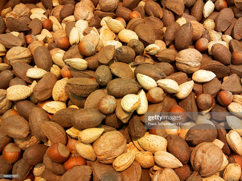 Full Frame Shot Of Nuts In Market : Stock Photo