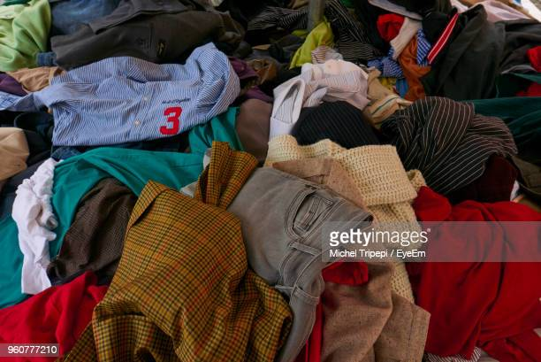 full frame shot of old clothes - kleid stock-fotos und bilder