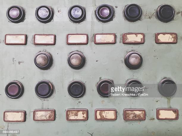 Full Frame Shot Of Old Machinery With Push Buttons