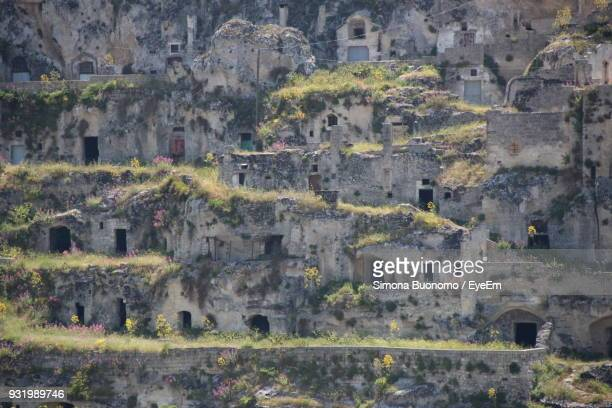full frame shot of old ruins - matera stock photos and pictures