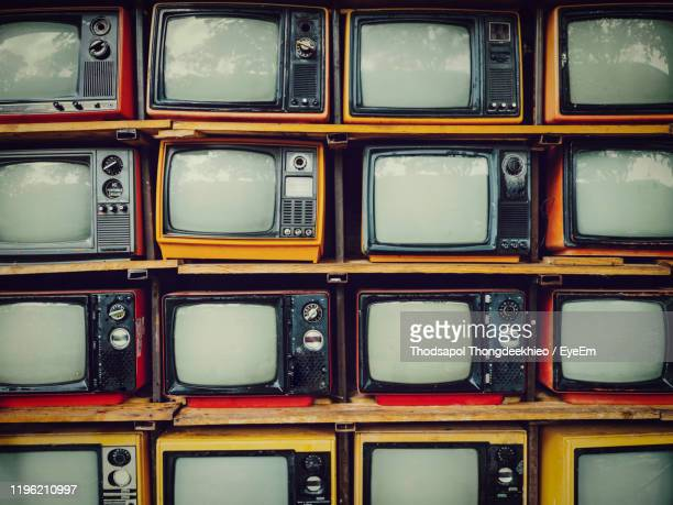 full frame shot of old television sets - retro style stock pictures, royalty-free photos & images