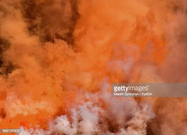 Full Frame Shot Of Orange Smoke
