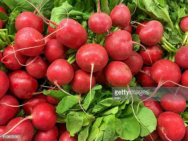 Full Frame Shot Of Organic Raw Radish with Leaves in Market