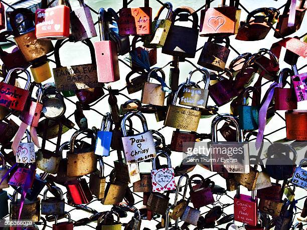 Full Frame Shot Of Padlocks On Bridge