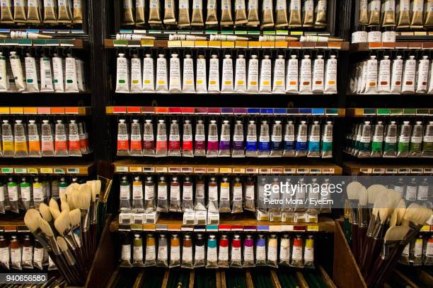 full frame shot of painting equipment for sale at store - art and craft equipment stock pictures, royalty-free photos & images