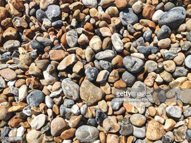 full frame shot of pebble beach - pebble stock pictures, royalty-free photos & images