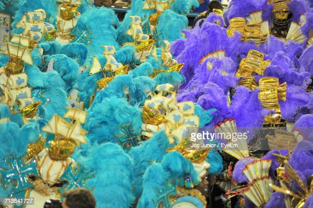 full frame shot of performers on street during carnival - carnaval rio photos et images de collection