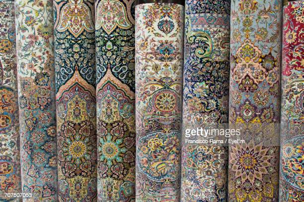 full frame shot of persian rugs at store - persian rug stock photos and pictures