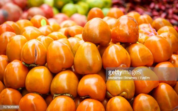 Full Frame Shot Of Persimmon At Market Stall