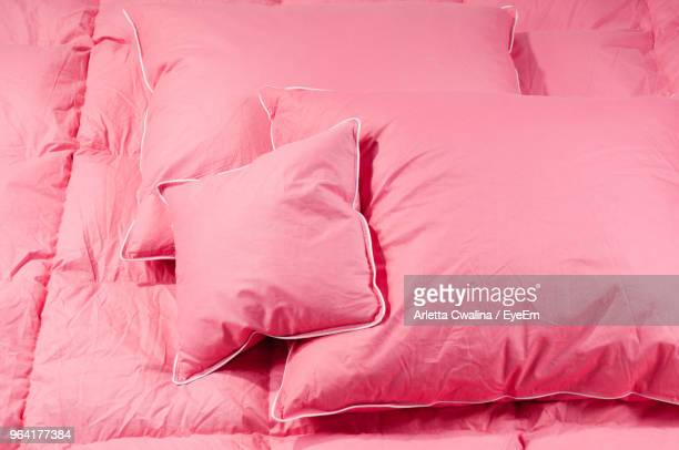 full frame shot of pink bed - bedclothes stock pictures, royalty-free photos & images