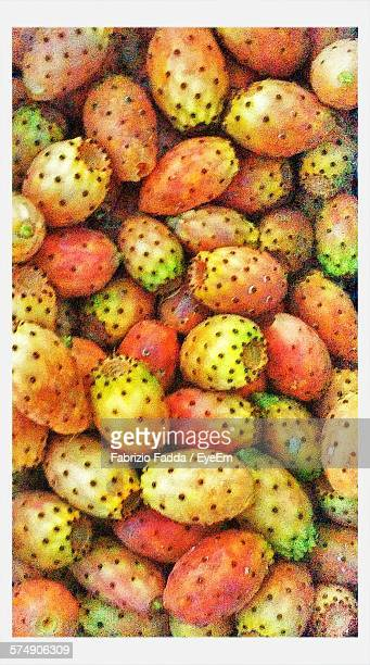 Full Frame Shot Of Prickly Pears In Market